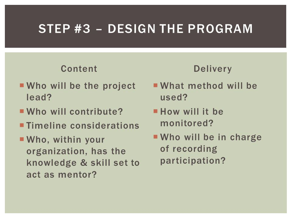 Content  Who will be the project lead.  Who will contribute.