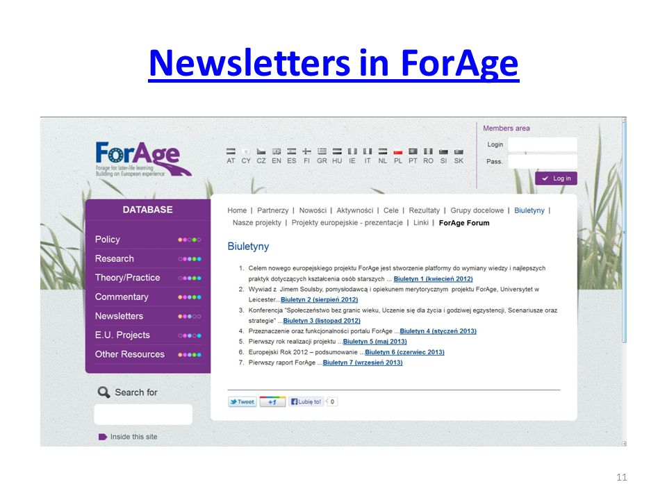 Newsletters in ForAge 11