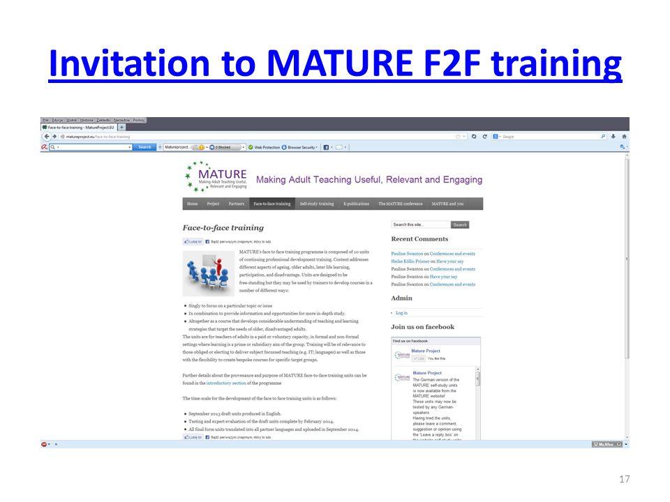 Invitation to MATURE F2F training 17