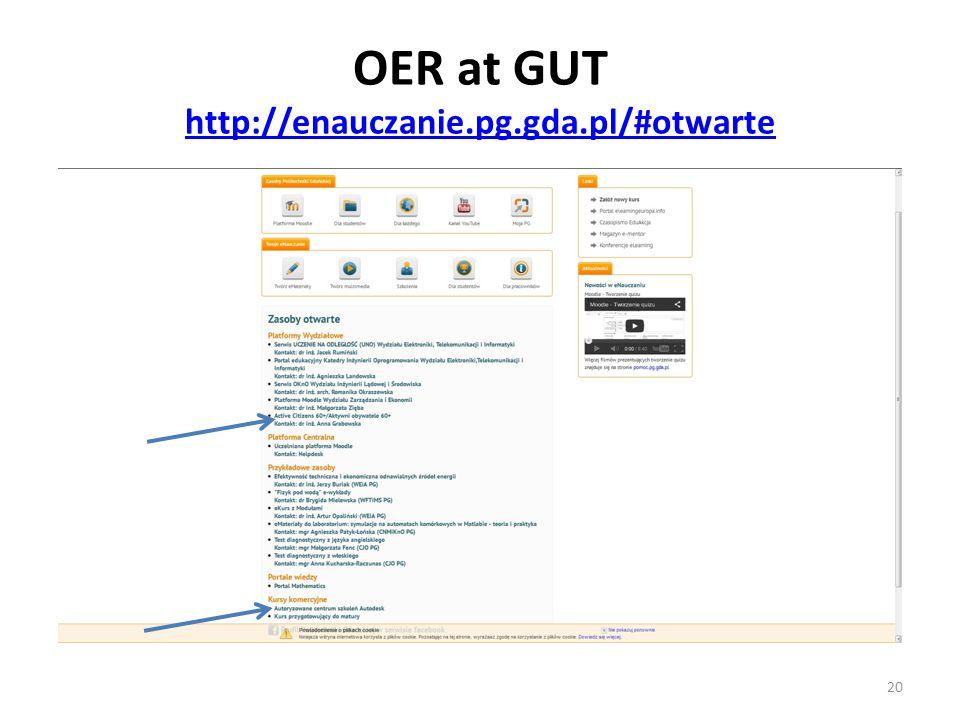 OER at GUT http://enauczanie.pg.gda.pl/#otwarte http://enauczanie.pg.gda.pl/#otwarte 20