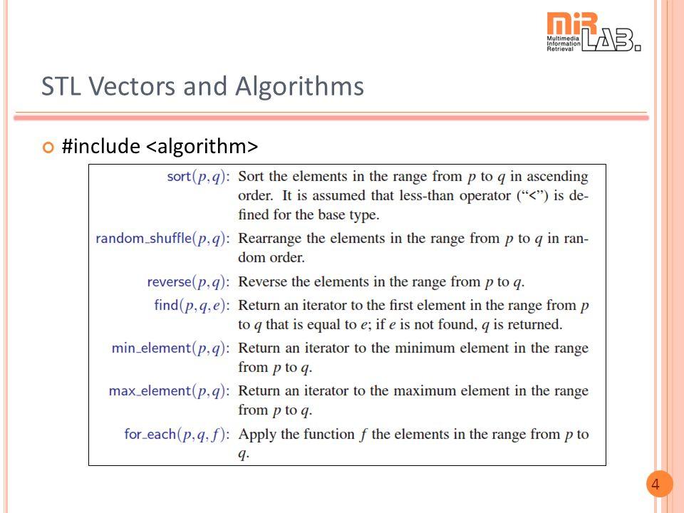 4 STL Vectors and Algorithms #include