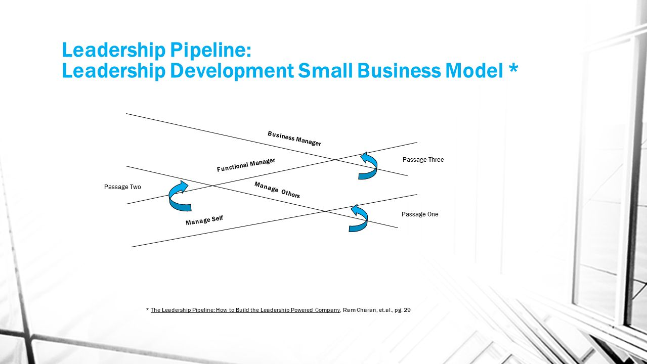 Leadership Pipeline: Leadership Development Small Business Model * Passage Two Manage Self Manage Others Functional Manager Business Manager Passage O