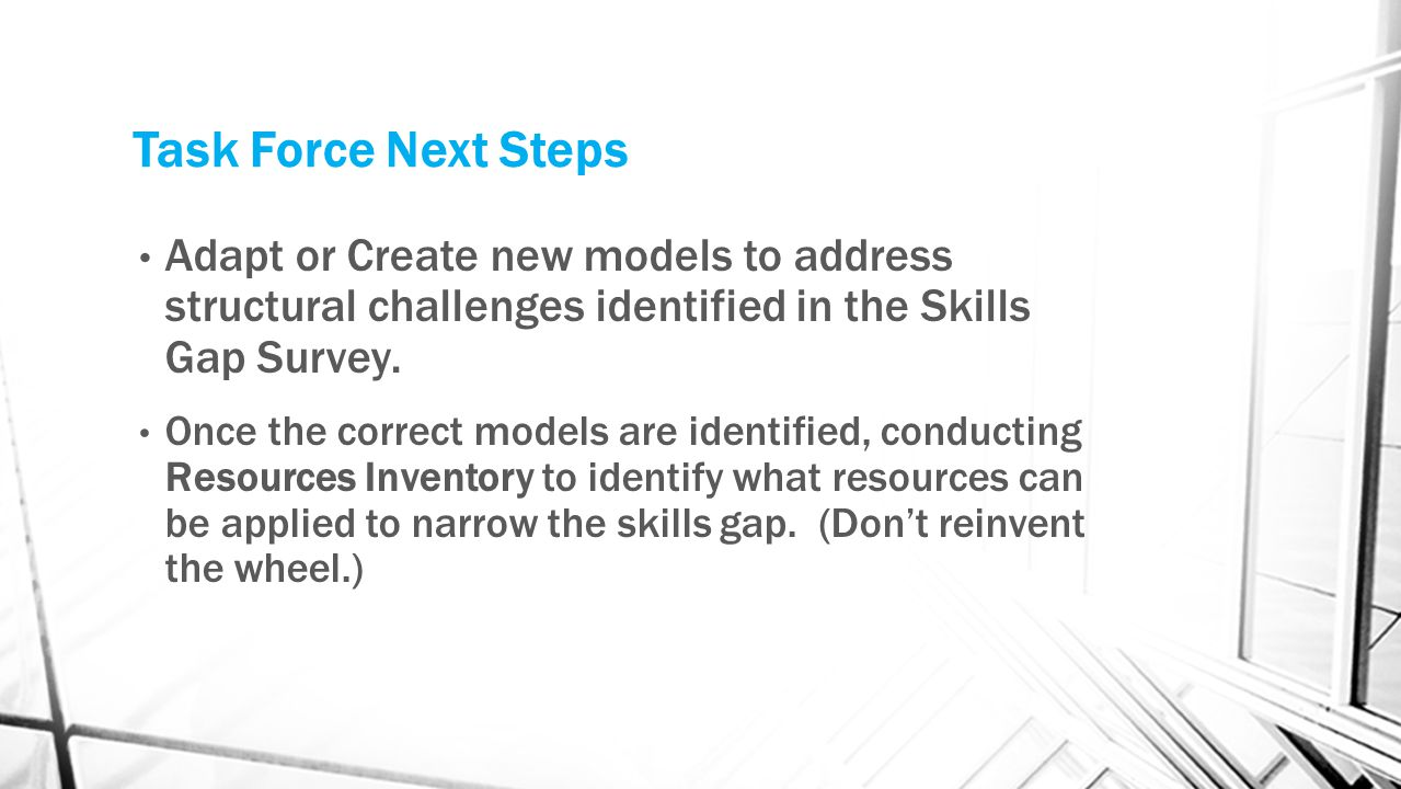 Task Force Next Steps Adapt or Create new models to address structural challenges identified in the Skills Gap Survey.