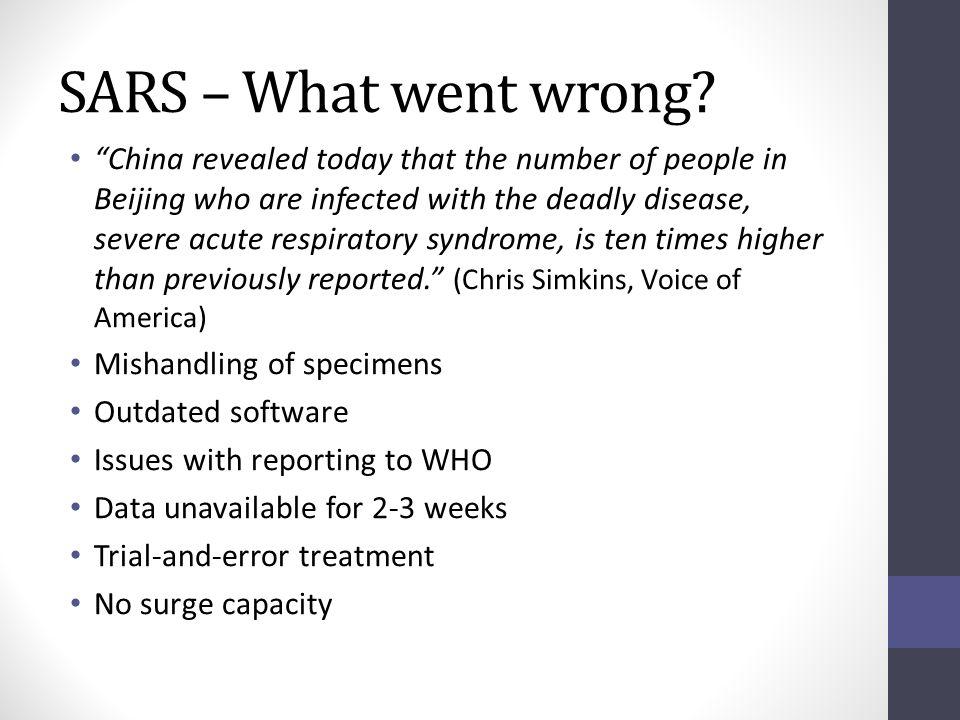 SARS – What went wrong.