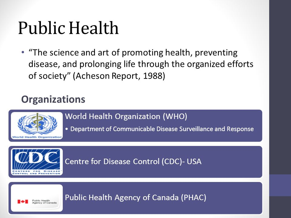 Public Health The science and art of promoting health, preventing disease, and prolonging life through the organized efforts of society (Acheson Report, 1988) Organizations World Health Organization (WHO) Department of Communicable Disease Surveillance and Response Centre for Disease Control (CDC)- USA Public Health Agency of Canada (PHAC)
