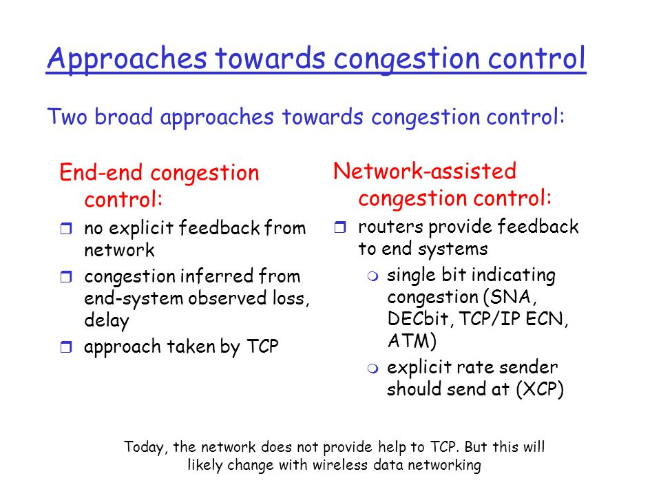 Causes/costs of congestion: scenario 3 Another cost of congestion: r when packet dropped, any upstream transmission capacity used for that packet was wasted.