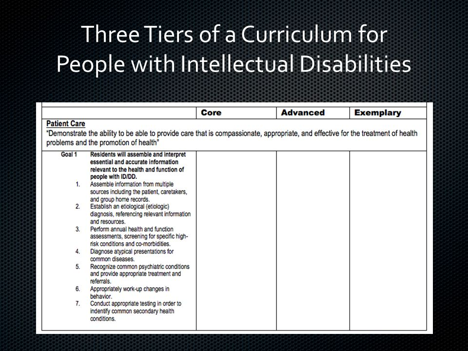 Three Tiers of a Curriculum for People with Intellectual Disabilities