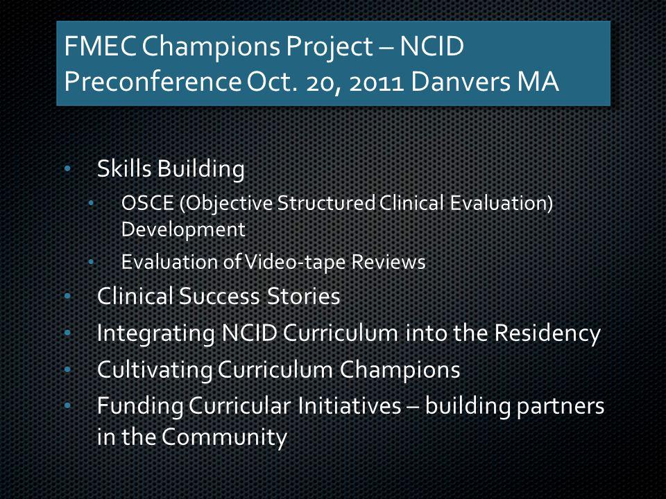 FMEC Champions Project – NCID Preconference Oct.