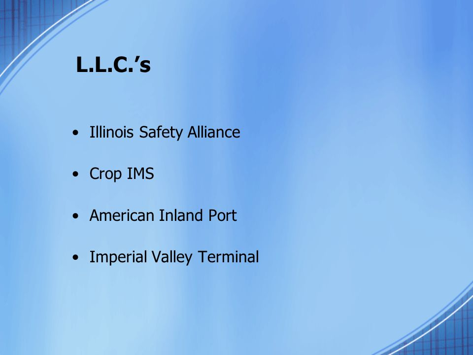 L.L.C.'s Illinois Safety Alliance Crop IMS American Inland Port Imperial Valley Terminal