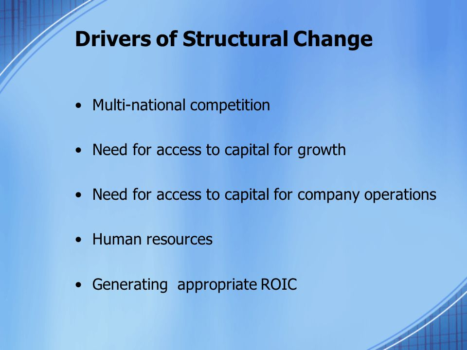 Drivers of Structural Change Multi-national competition Need for access to capital for growth Need for access to capital for company operations Human resources Generating appropriate ROIC