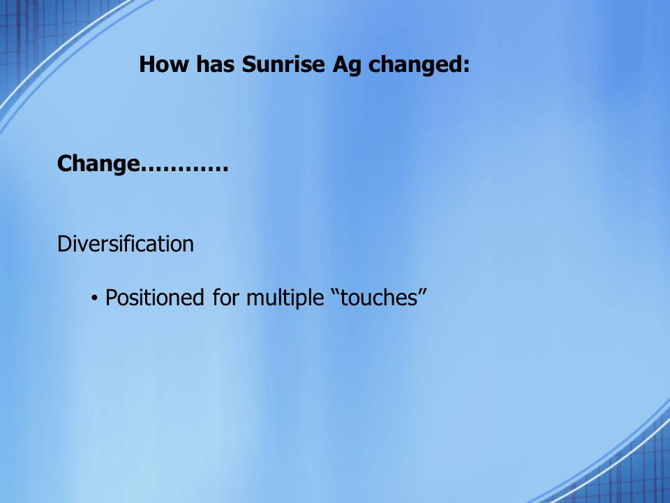 "How has Sunrise Ag changed: Change………… Diversification Positioned for multiple ""touches"""