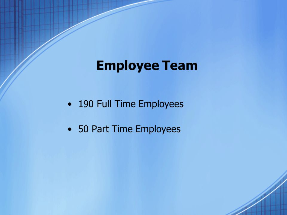 Employee Team 190 Full Time Employees 50 Part Time Employees