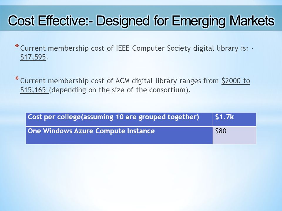 * Current membership cost of IEEE Computer Society digital library is: - $17,595.