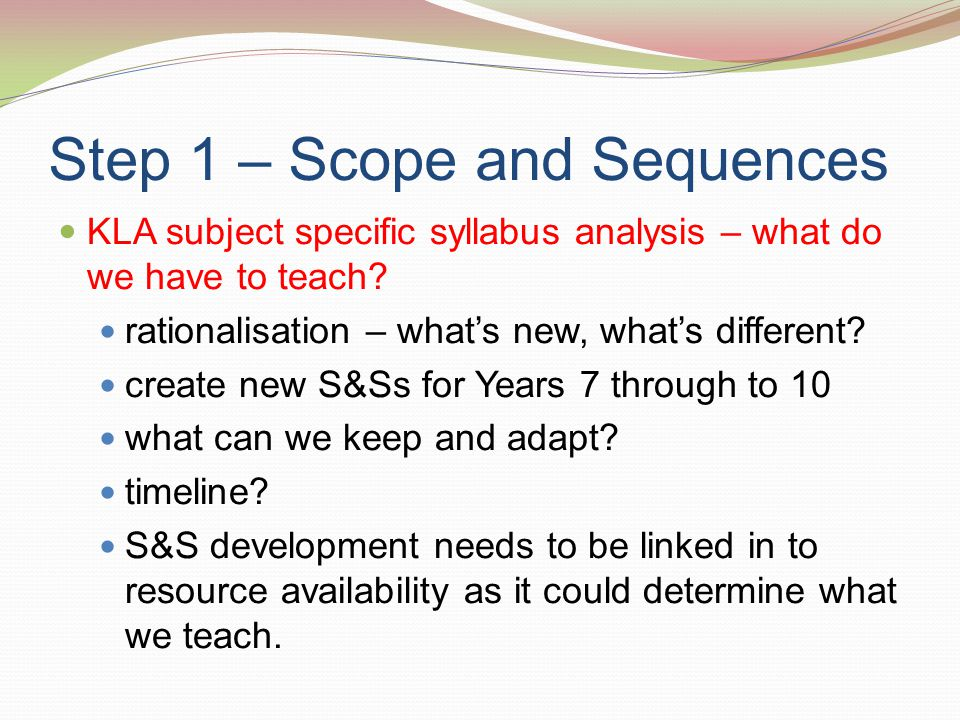 Step 1 – Scope and Sequences KLA subject specific syllabus analysis – what do we have to teach.