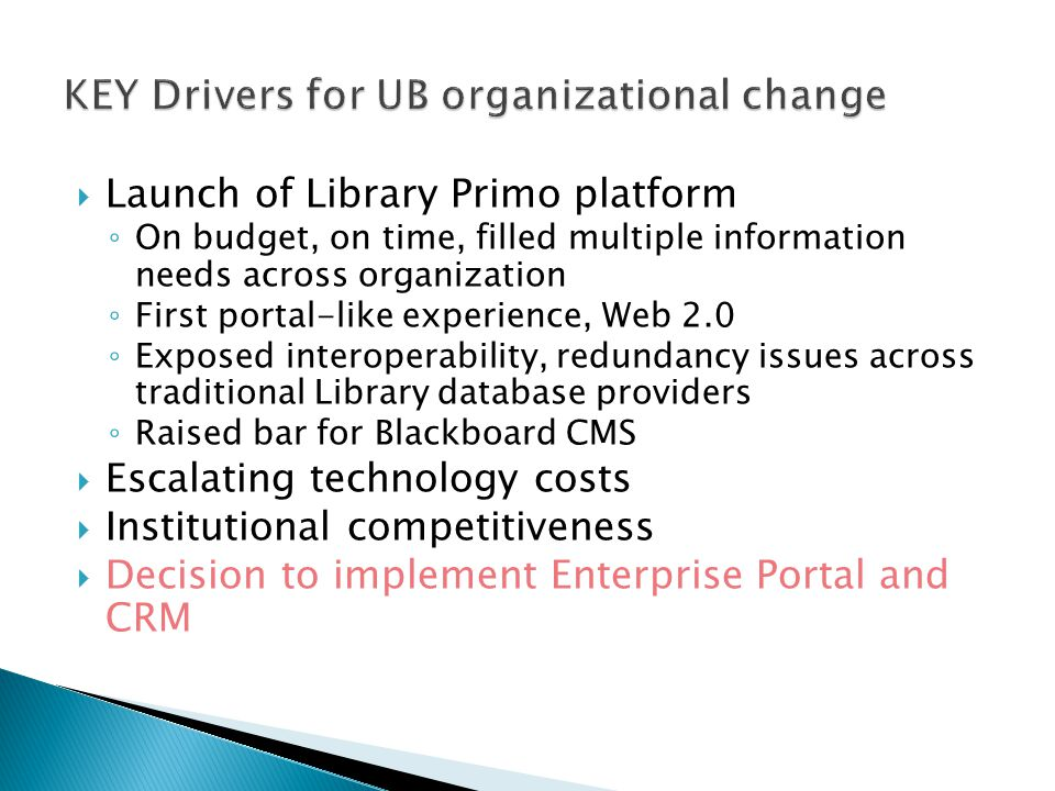  Launch of Library Primo platform ◦ On budget, on time, filled multiple information needs across organization ◦ First portal-like experience, Web 2.0 ◦ Exposed interoperability, redundancy issues across traditional Library database providers ◦ Raised bar for Blackboard CMS  Escalating technology costs  Institutional competitiveness  Decision to implement Enterprise Portal and CRM