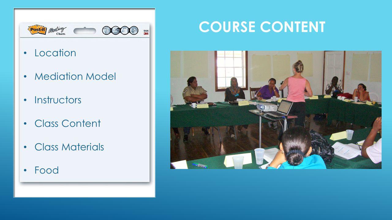 COURSE CONTENT Location Mediation Model Instructors Class Content Class Materials Food
