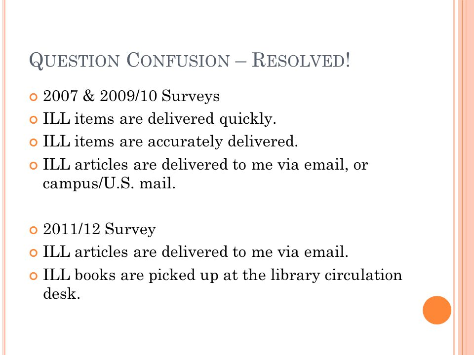 Q UESTION C ONFUSION – R ESOLVED . 2007 & 2009/10 Surveys ILL items are delivered quickly.