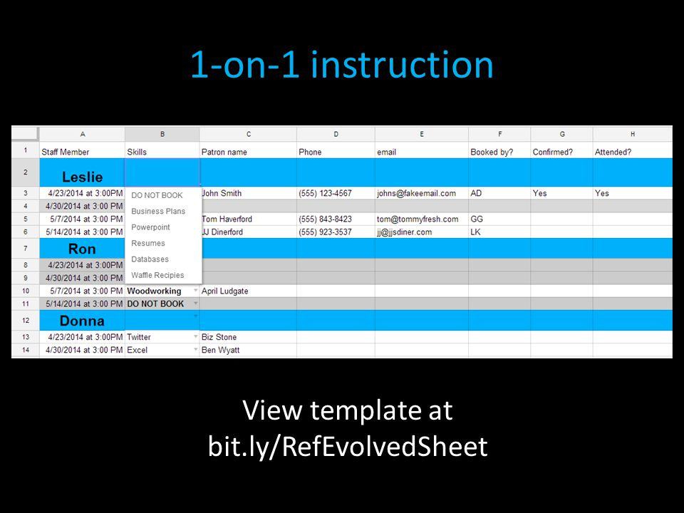 1-on-1 instruction View template at bit.ly/RefEvolvedSheet