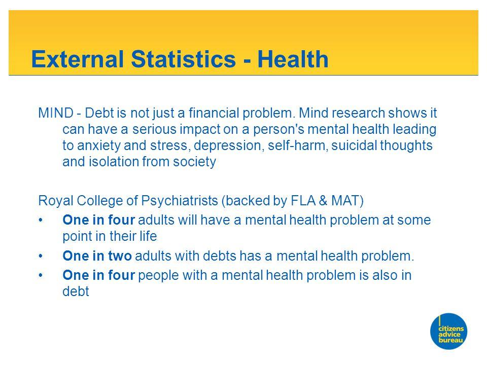 External Statistics - Health MIND - Debt is not just a financial problem.