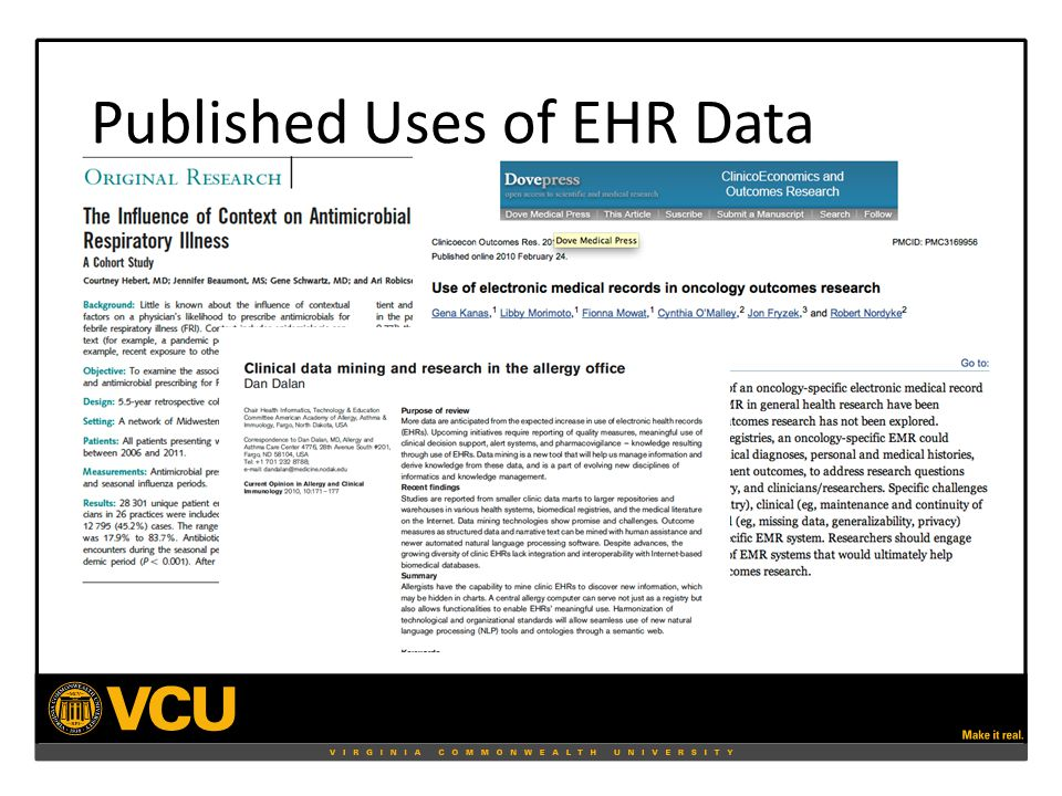 Published Uses of EHR Data