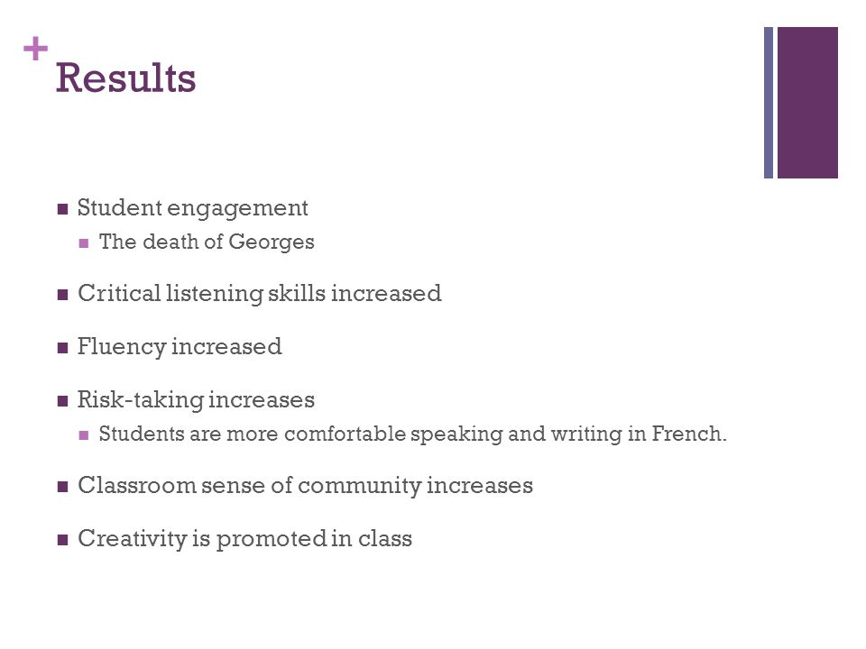 + Results Student engagement The death of Georges Critical listening skills increased Fluency increased Risk-taking increases Students are more comfortable speaking and writing in French.