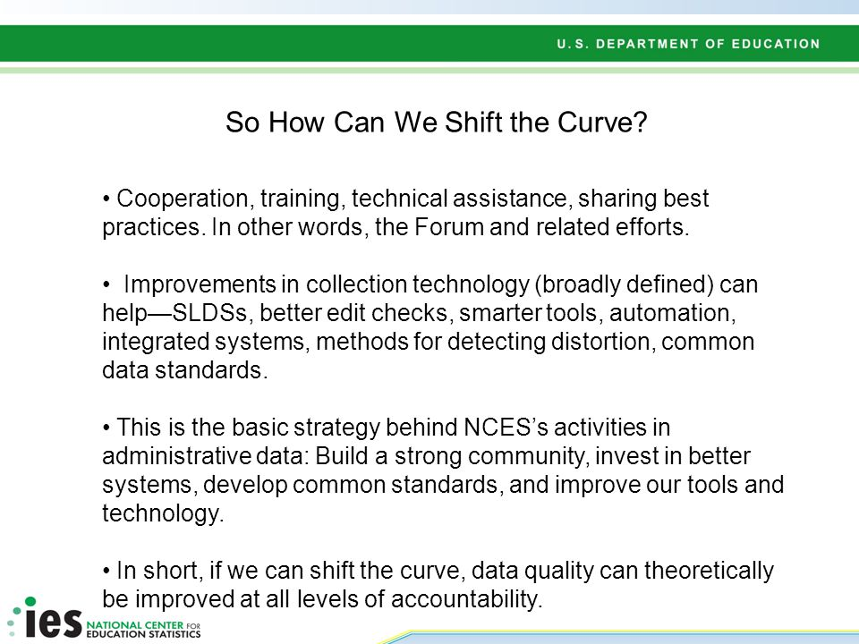 So How Can We Shift the Curve. Cooperation, training, technical assistance, sharing best practices.