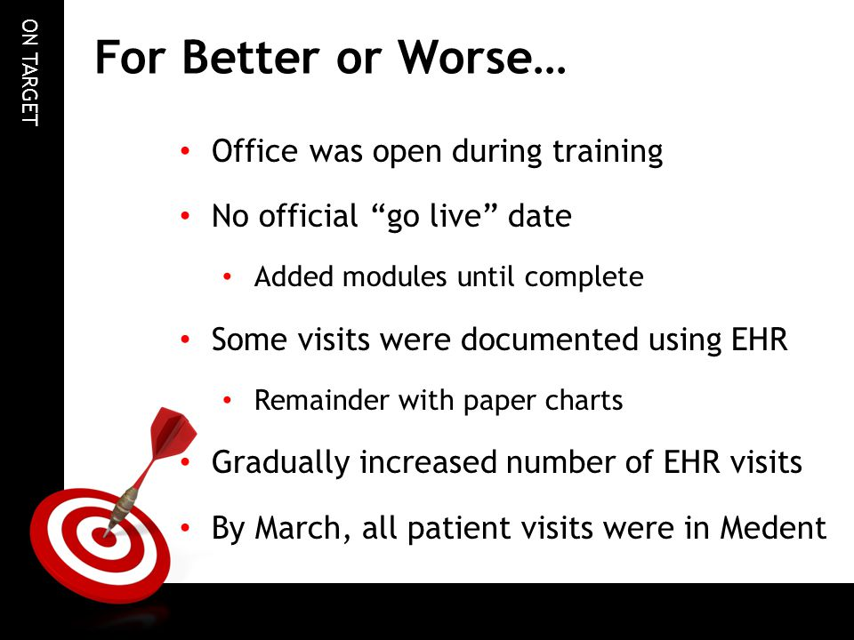 "ON TARGET For Better or Worse… Office was open during training No official ""go live"" date Added modules until complete Some visits were documented usi"