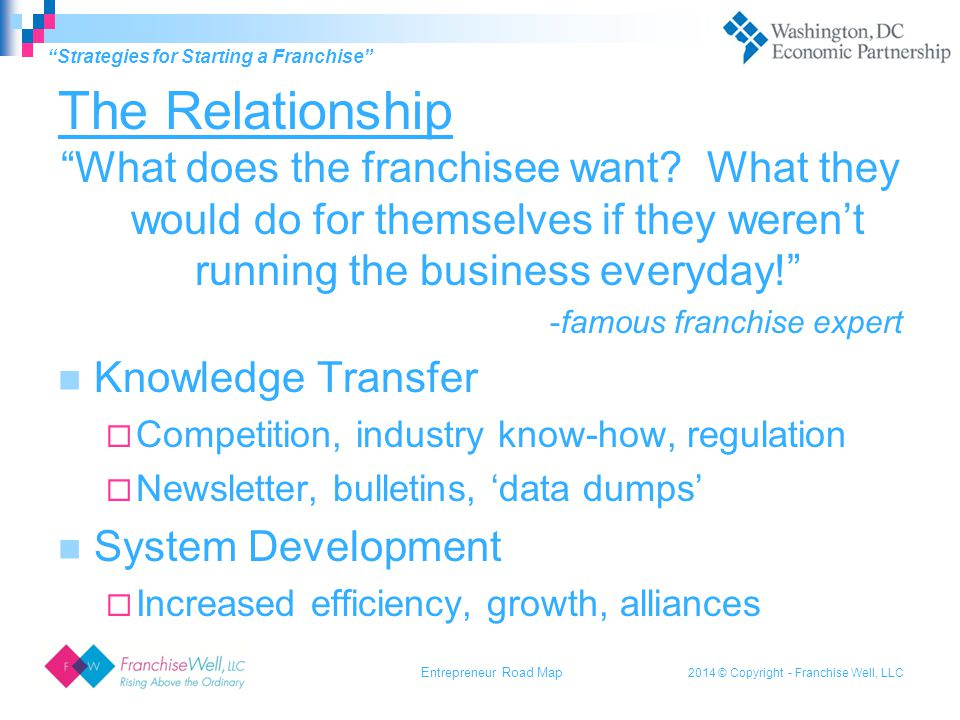 2014 © Copyright - Franchise Well, LLC The Relationship What does the franchisee want.