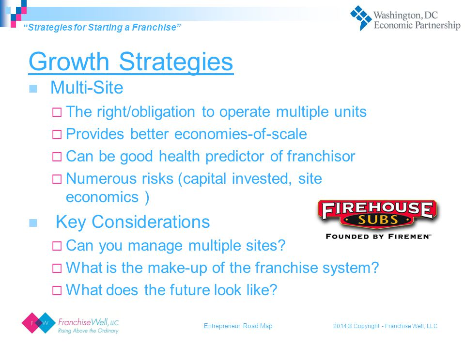 2014 © Copyright - Franchise Well, LLC Growth Strategies Multi-Site  The right/obligation to operate multiple units  Provides better economies-of-scale  Can be good health predictor of franchisor  Numerous risks (capital invested, site economics ) Key Considerations  Can you manage multiple sites.