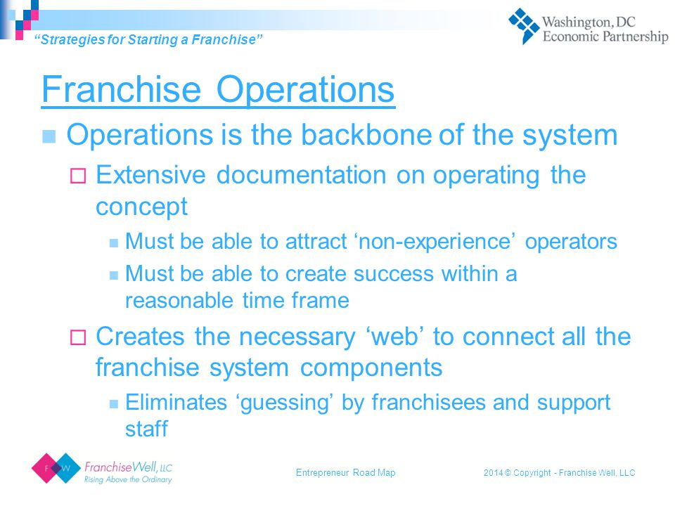 2014 © Copyright - Franchise Well, LLC The Value of Your Time A franchise system must allow an owner to 'stick to the knitting' of the business.