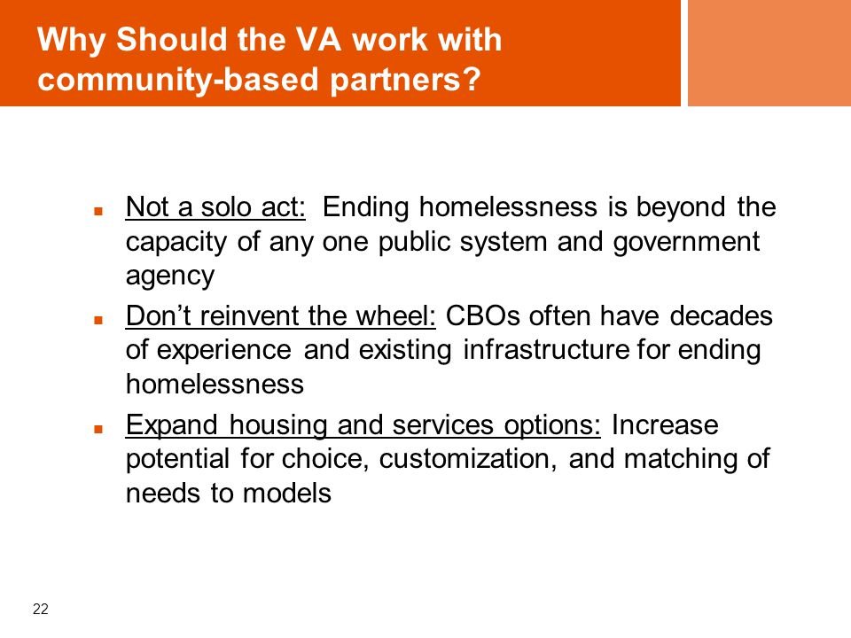 Why Should the VA work with community-based partners.