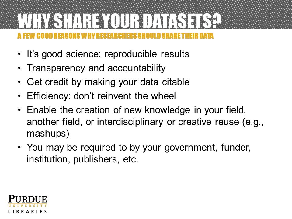 WHY SHARE YOUR DATASETS.