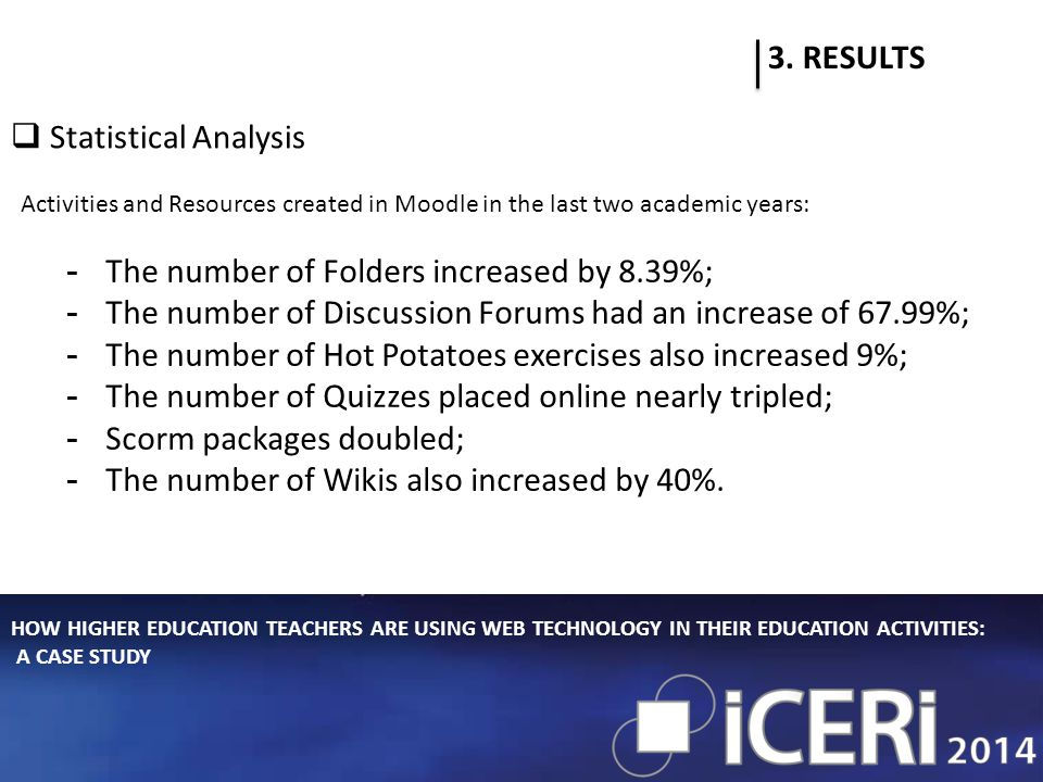 HOW HIGHER EDUCATION TEACHERS ARE USING WEB TECHNOLOGY IN THEIR EDUCATION ACTIVITIES: A CASE STUDY 3.
