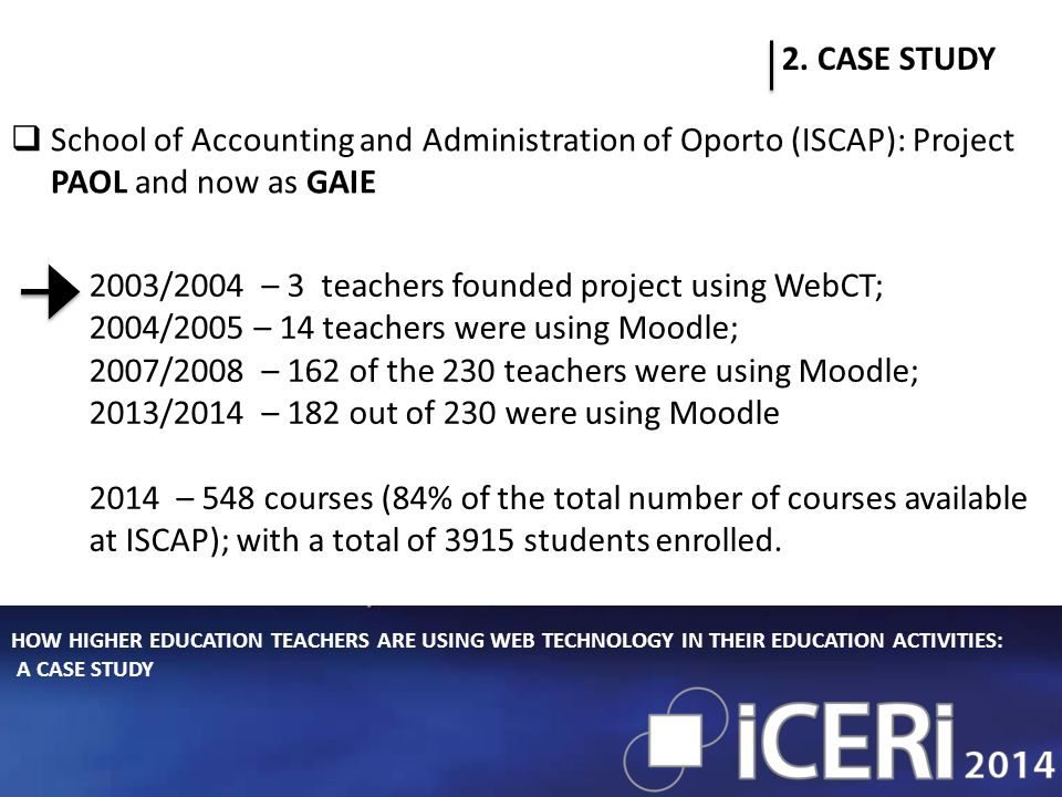 HOW HIGHER EDUCATION TEACHERS ARE USING WEB TECHNOLOGY IN THEIR EDUCATION ACTIVITIES: A CASE STUDY 2.