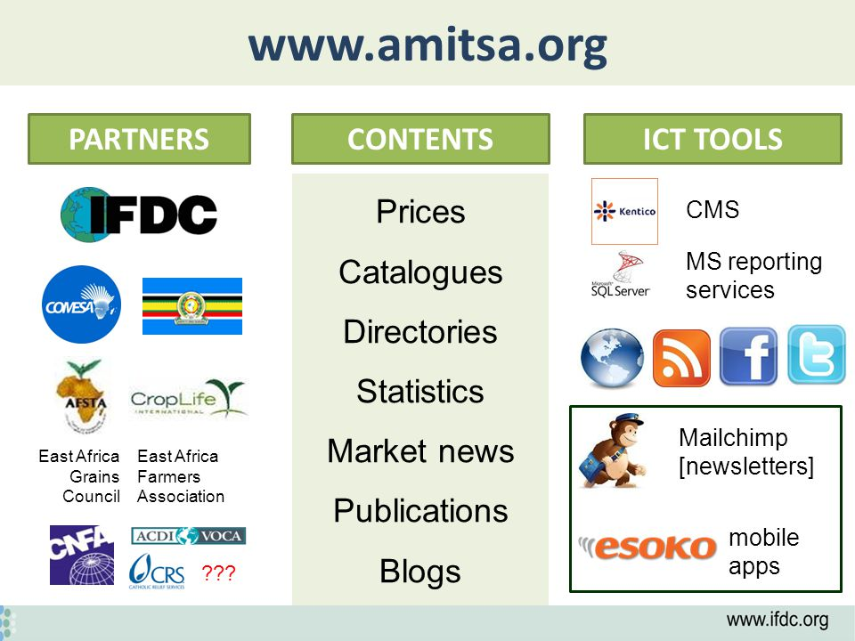 www.amitsa.org PARTNERSCONTENTSICT TOOLS Prices Catalogues Directories Statistics Market news Publications Blogs CMS MS reporting services Mailchimp [newsletters] mobile apps East Africa Farmers Association East Africa Grains Council