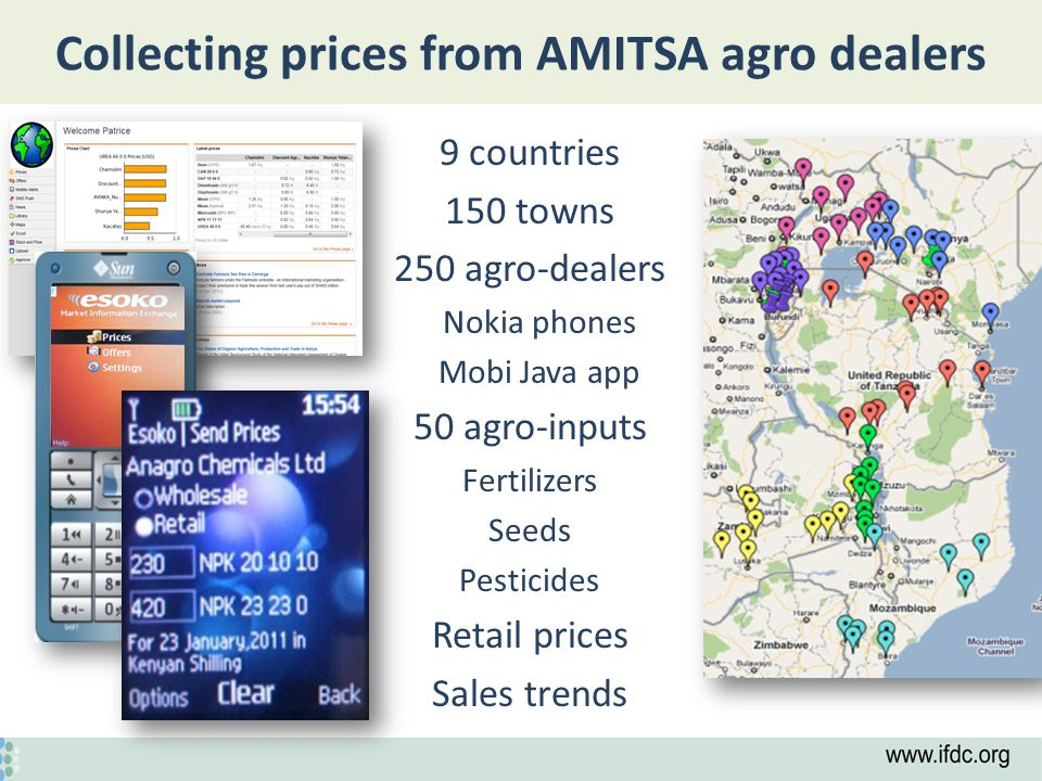 Collecting prices from AMITSA agro dealers 9 countries 150 towns 250 agro-dealers Nokia phones Mobi Java app 50 agro-inputs Fertilizers Seeds Pesticides Retail prices Sales trends