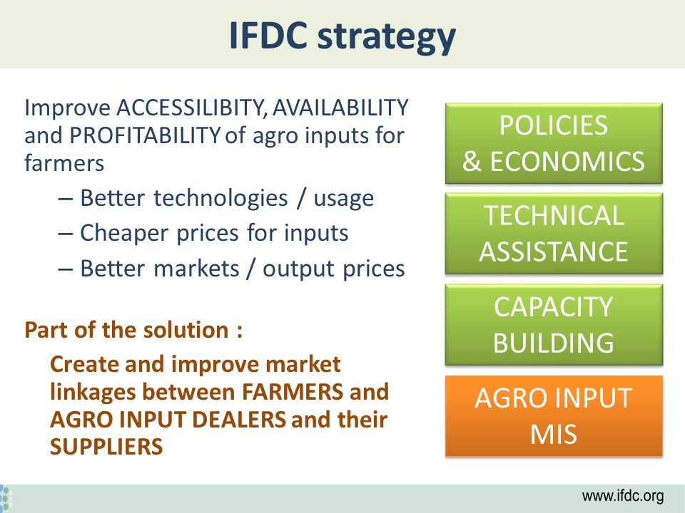 IFDC strategy Improve ACCESSILIBITY, AVAILABILITY and PROFITABILITY of agro inputs for farmers – Better technologies / usage – Cheaper prices for inputs – Better markets / output prices Part of the solution : Create and improve market linkages between FARMERS and AGRO INPUT DEALERS and their SUPPLIERS AGRO INPUT MIS POLICIES & ECONOMICS POLICIES & ECONOMICS CAPACITY BUILDING TECHNICAL ASSISTANCE
