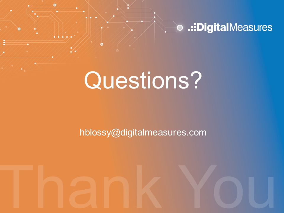Questions hblossy@digitalmeasures.com Thank You