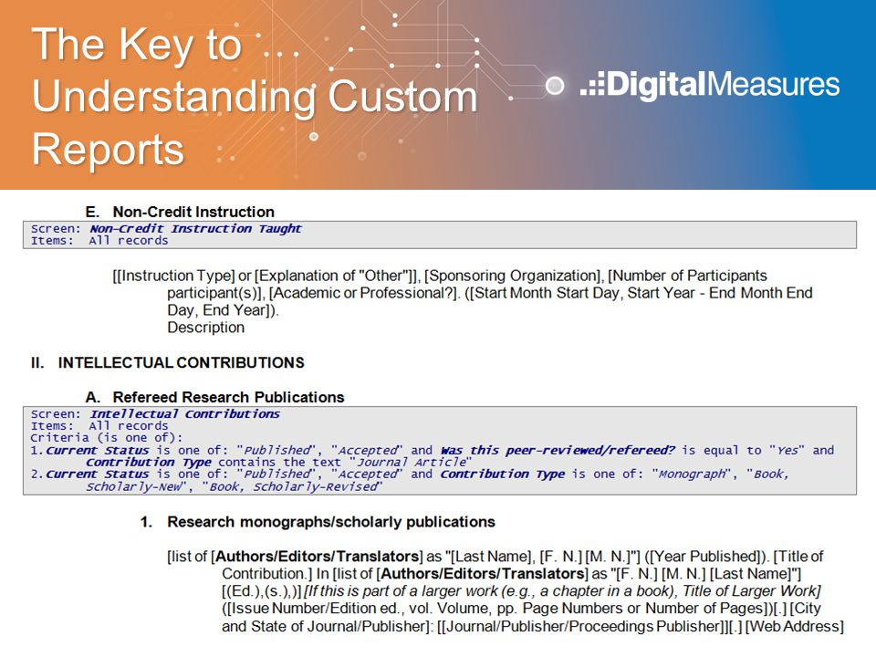 The Key to Understanding Custom Reports