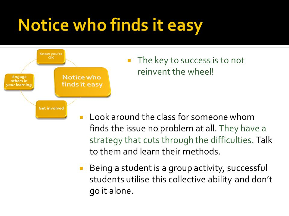  Look around the class for someone whom finds the issue no problem at all.