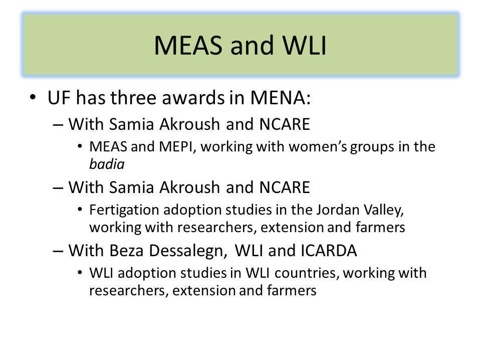 MEAS and WLI UF has three awards in MENA: – With Samia Akroush and NCARE MEAS and MEPI, working with women's groups in the badia – With Samia Akroush
