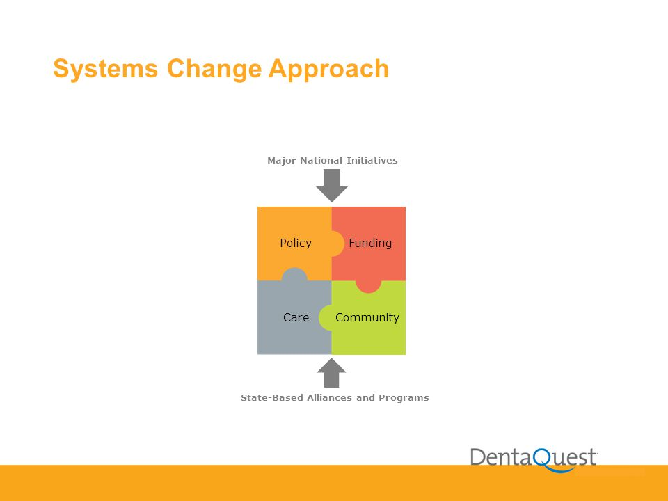 Systems Change Approach PolicyFunding CareCommunity Major National Initiatives State-Based Alliances and Programs