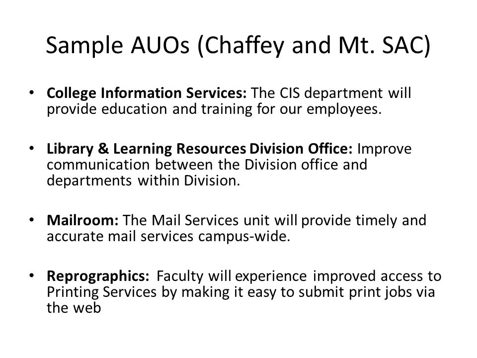 Sample AUOs (Chaffey and Mt.