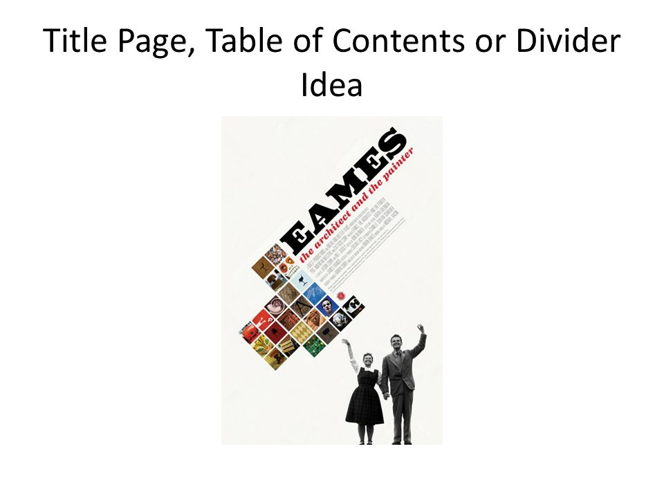 Title Page, Table of Contents or Divider Idea