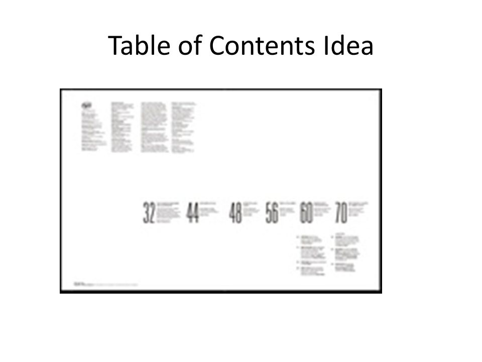 Table of Contents Idea