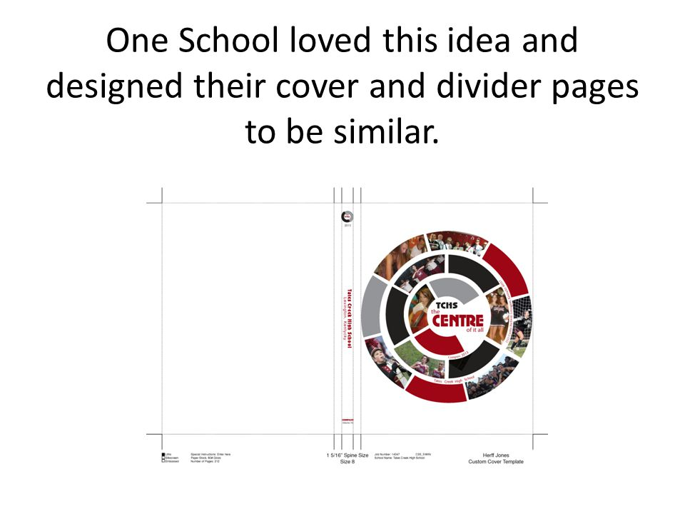 One School loved this idea and designed their cover and divider pages to be similar.