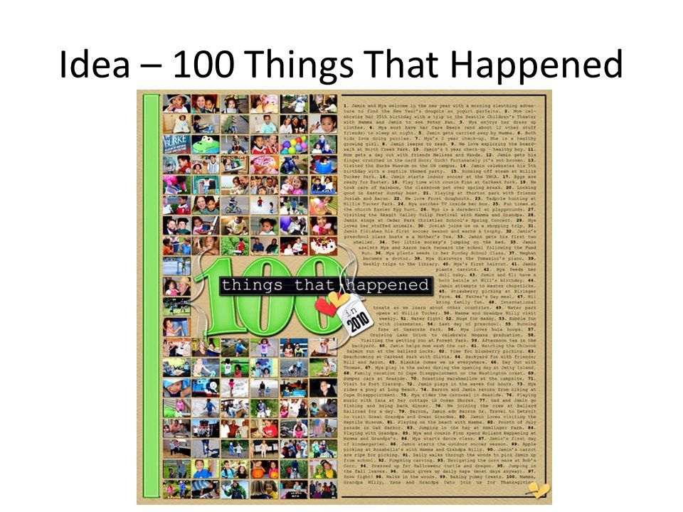 Idea – 100 Things That Happened