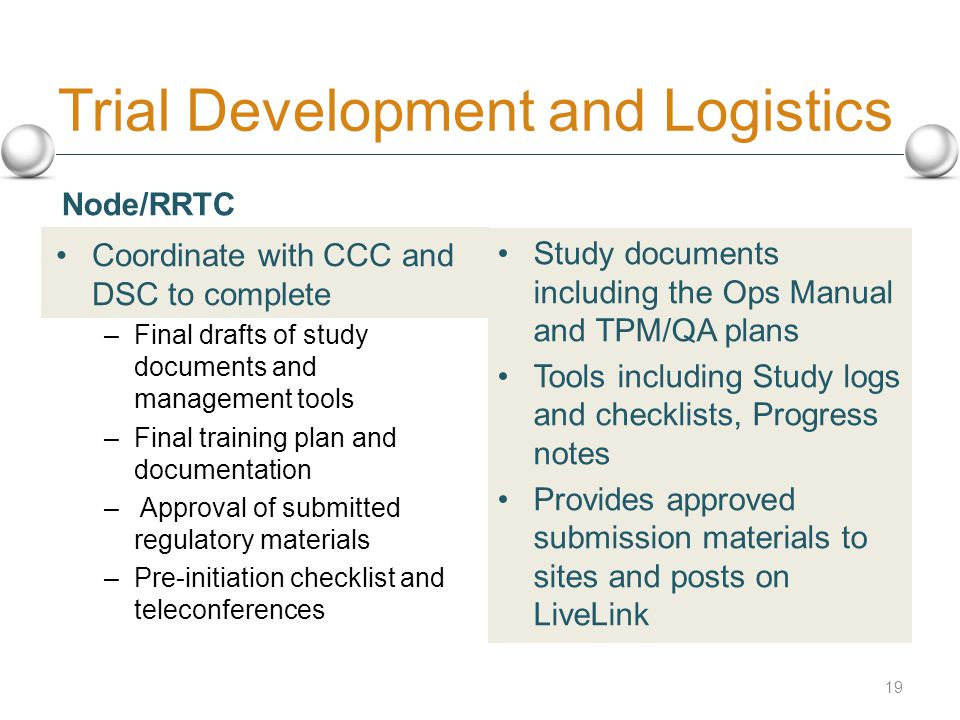 Trial Development and Logistics Coordinate with CCC and DSC to complete – Final drafts of study documents and management tools – Final training plan and documentation – Approval of submitted regulatory materials – Pre-initiation checklist and teleconferences Study documents including the Ops Manual and TPM/QA plans Tools including Study logs and checklists, Progress notes Provides approved submission materials to sites and posts on LiveLink 19 Node/RRTC