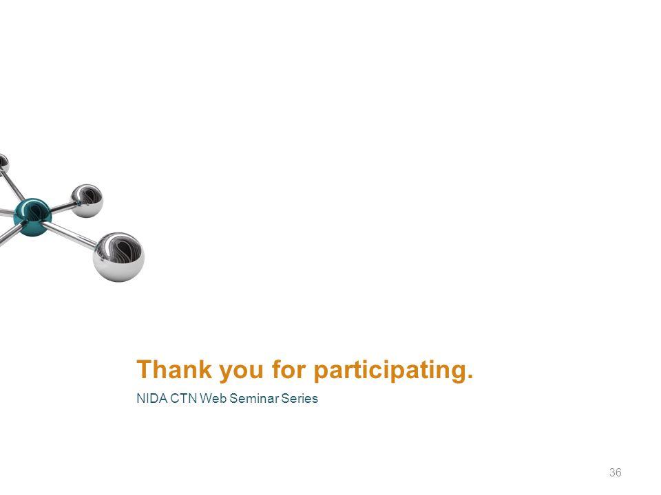 Thank you for participating. NIDA CTN Web Seminar Series 36