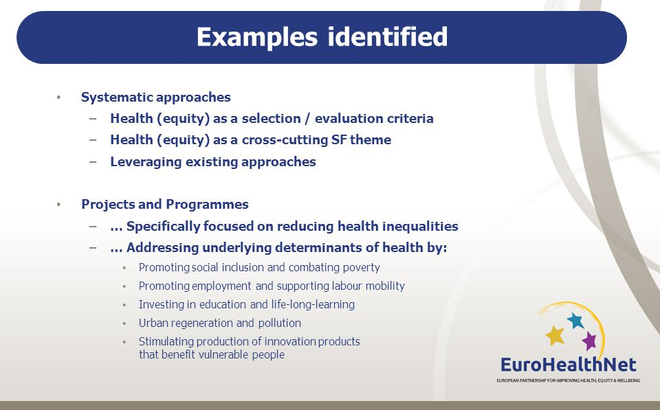 Examples identified Systematic approaches –Health (equity) as a selection / evaluation criteria –Health (equity) as a cross-cutting SF theme –Leveraging existing approaches Projects and Programmes –… Specifically focused on reducing health inequalities –… Addressing underlying determinants of health by: Promoting social inclusion and combating poverty Promoting employment and supporting labour mobility Investing in education and life-long-learning Urban regeneration and pollution Stimulating production of innovation products that benefit vulnerable people